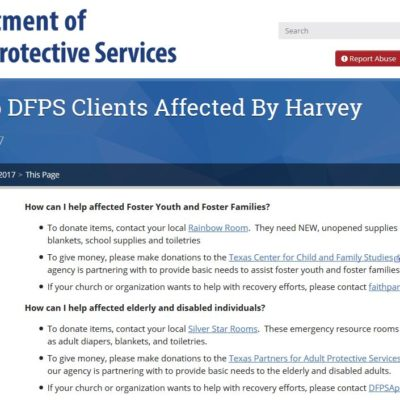 How To Help DFPS Clients Affected By Harvey